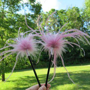 NEW Pink Feather Beads Hair Chopsticks